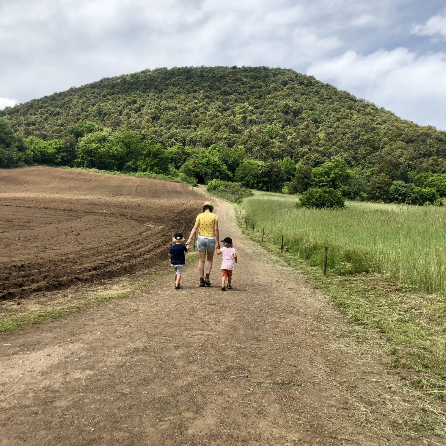 "Expedition Family Happiness - Walking towards the Volcano ""Volcà Croscat""; one of the many volcanoes here"