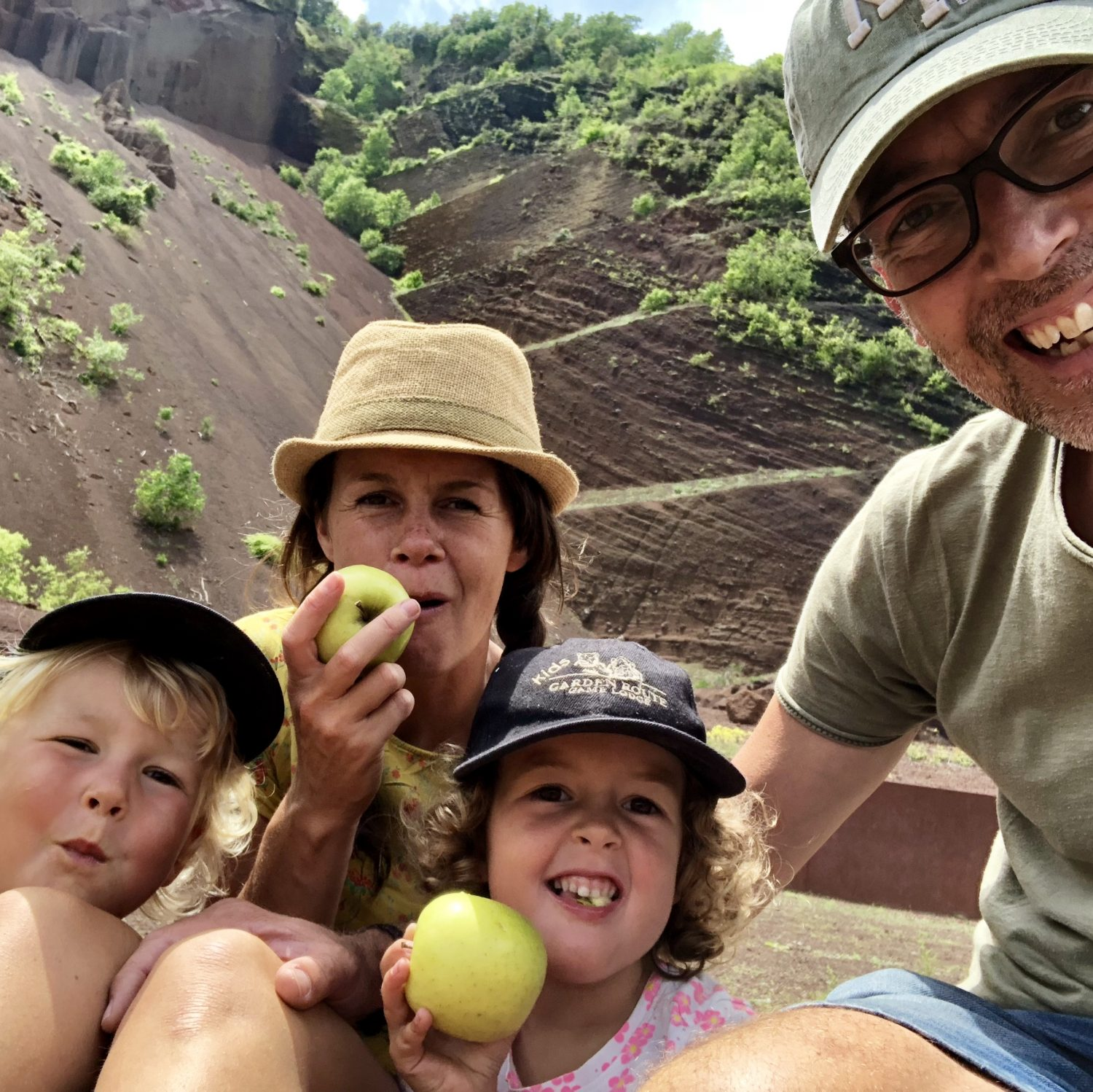 Expedition Family Happiness - Eating a apple inside a volcano!