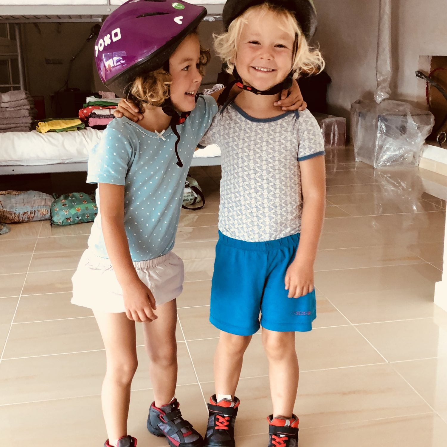 Expedition Family Happiness - Super happy with new shoes and helmets! Now we can Hike and bike!